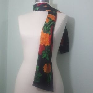 Echo floral silk scarf flower poppy rose red green